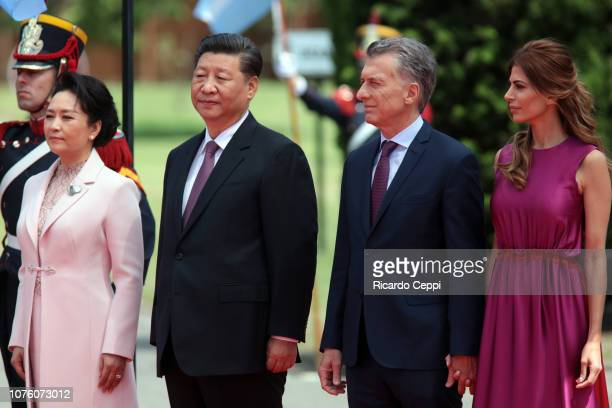 President of Argentina Mauricio Macri and his wife Juliana Awada receive Chinese President Xi Jinping and his wife Peng Liyuan after the G20 Leaders...