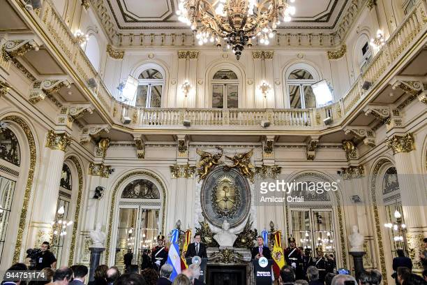 President of Argentina Mauricio Macri and Prime Minister of Spain Mariano Rajoy deliver a speach for the press during the first day of the official...