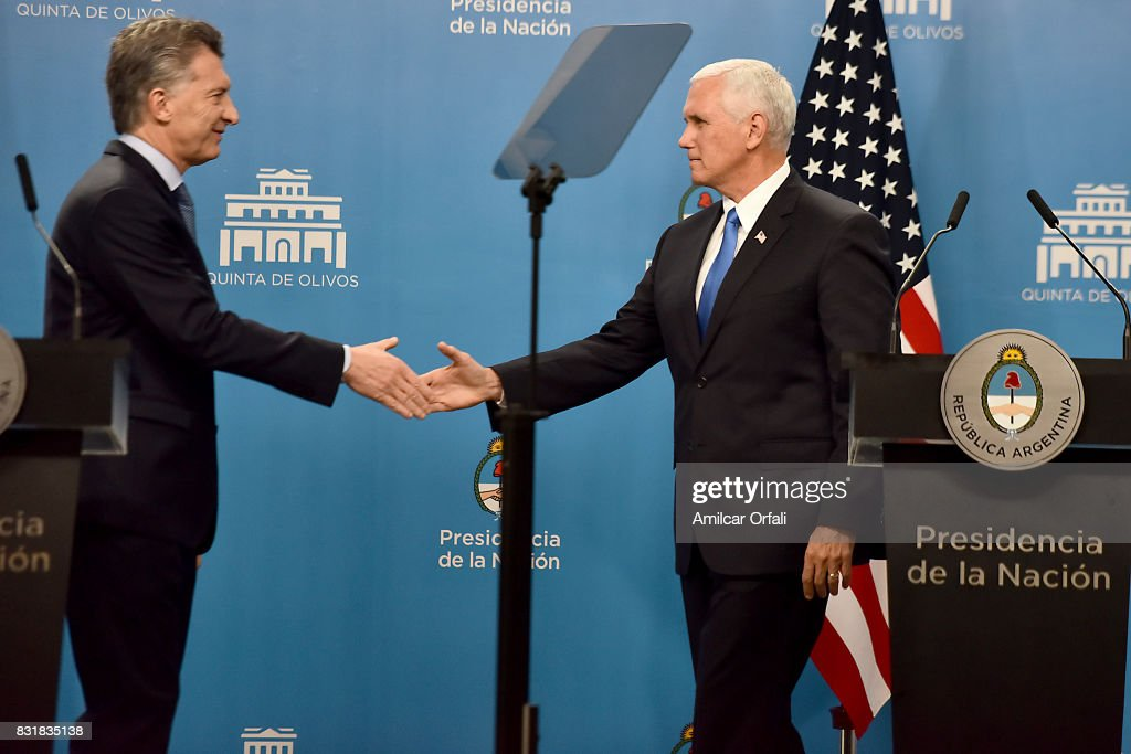 President of Argentina Mauricio Macri and U.S. Vice President Mike Pence shake hands during a press conference as part of the official visit of US Vice President Mike Pence to Buenos Aires at the Olivos Presidential Residence on August 15, 2017 in Olivos, Argentina.