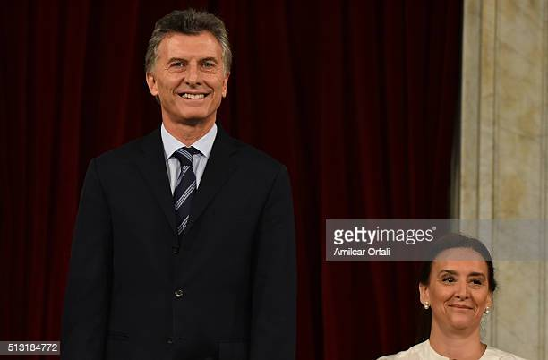 President of Argentina Mauricio Macri and vice president Gabriela Michetti smiles during the inauguration of the 134rd Period of Congress Ordinary...