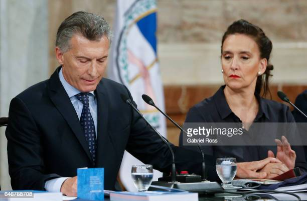 President of Argentina Mauricio Macri and Vice President Gabriela Michetti look on during the inauguration of the 135th Period of Congress Ordinary...