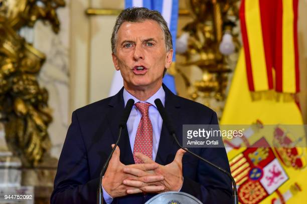 President of Argentina Mauricio Macri deliver a speach for the press during the first day of the official visit of the president of Spain to Buenos...