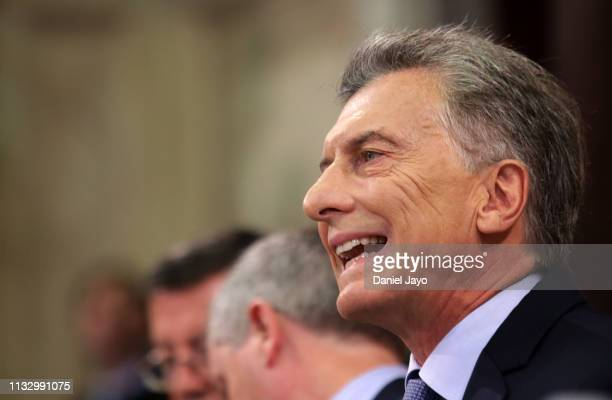 President of Argentina Mauricio Macri delivers a speech during the opening day of the 2019 ordinary sessions of the National Congress on March 1,...