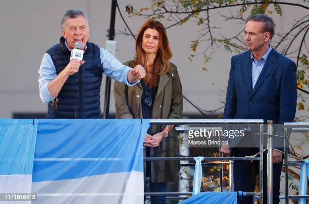 President of Argentina Mauricio Macri delivers a speech to his supporters alongside the First Lady Juliana Awada and his candidate for vice-president...