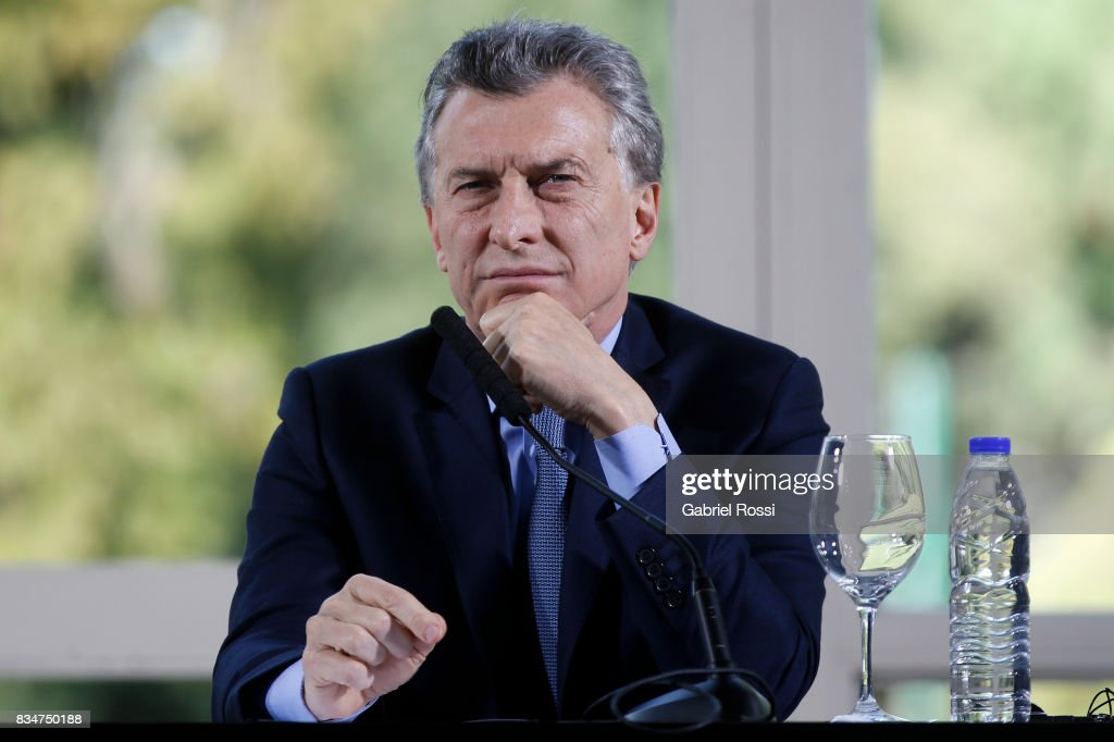 President of Argentina Mauricio Macri gestures during a press conference as part of the official visit of Jim Yong Kim President of The World Bank at Olivos Residence on August 17, 2017 in Olivos, Argentina.