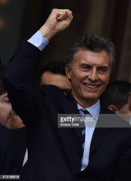 President of Argentina Mauricio Macri gestures during the inauguration of the 134th Period of Congress Ordinary Sessions on March 01 2016 in Buenos...