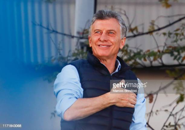"President of Argentina Mauricio Macri gestures to his supporters during an event so-called ""Si Se Puede"" at Barrancas de Belgrano on September 28,..."