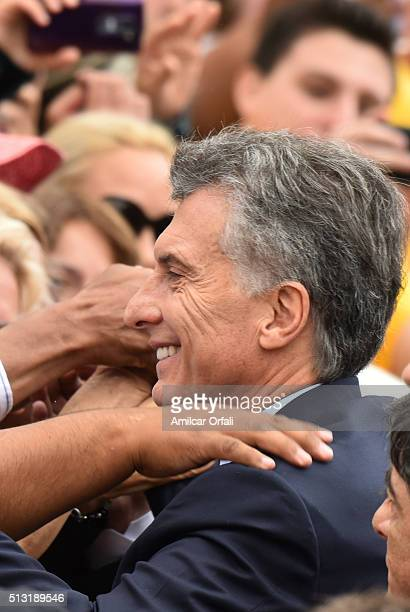 President of Argentina Mauricio Macri greets people after the inauguration of the 134th Period of Congress Ordinary Sessions on March 01 2016 in...