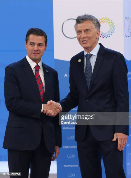 President of Argentina Mauricio Macri greets President of Mexico Enrique Peña Nieto upon his arrival to the opening day of Argentina G20 Leaders'...