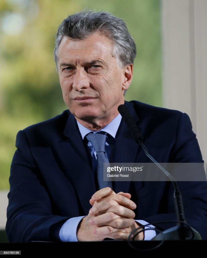 President of Argentina Mauricio Macri looks on during a press conference as part of the official visit of Jim Yong Kim President of The World Bank at Olivos Residence on August 17, 2017 in Olivos, Argentina.