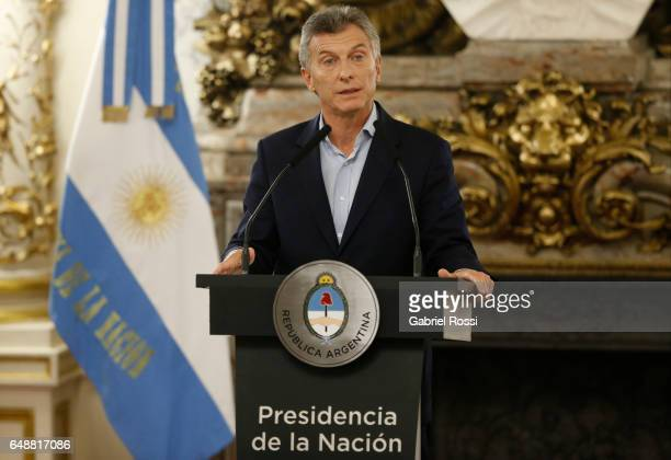 President of Argentina Mauricio Macri looks on during a press conference to announce the opening of biddings for commercial air transport allowing...