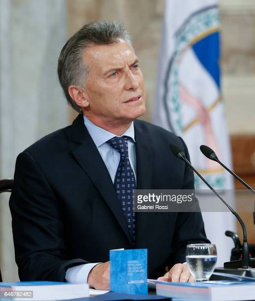 President of Argentina Mauricio Macri looks on during the inauguration of the 135th Period of Congress Ordinary Sessions on March 01, 2017 in Buenos...