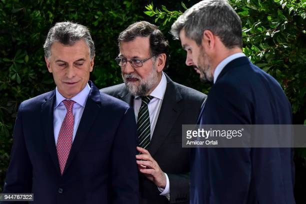 President of Argentina Mauricio Macri Prime Minister of Spain Mariano Rajoy and Chief of Cabinet Marcos Peña talsk during the first day of the...