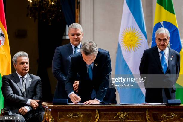 President of Argentina Mauricio Macri signs the agreement of Santiago after the Meeting of Presidents of South America also called ProSur on March 22...