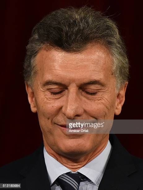 President of Argentina Mauricio Macri smiles during the inauguration of the 134th Period of Congress Ordinary Sessions on March 01 2016 in Buenos...