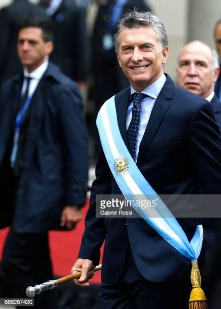 President of Argentina Mauricio Macri smiles prior the Tedeum Mass in honour to the 207th anniversary of the Revolucion de Mayo at Metropolitan...