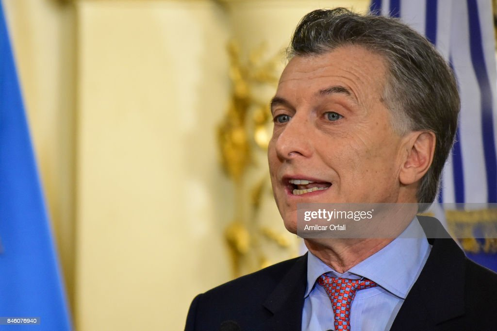 President of Argentina Mauricio Macri speaks during a meeting as part of the official visit of Israeli Prime Minister Benjamin Netanyahu to Buenos Aires at Casa Rosada on September 12, 2017 in Buenos Aires, Argentina.