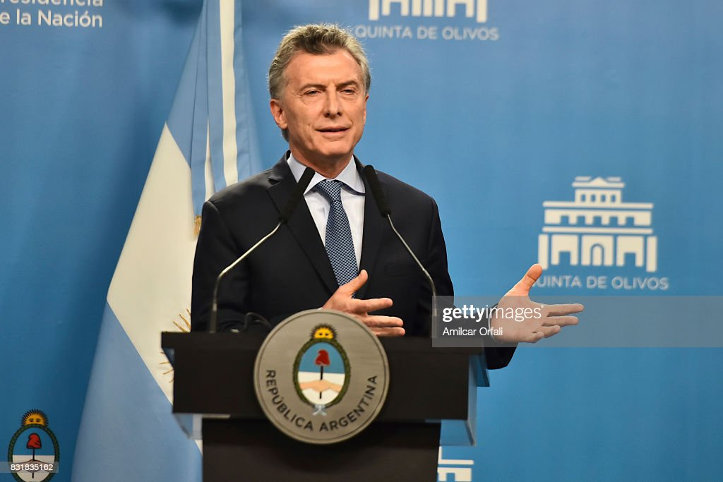 President of Argentina Mauricio Macri speaks during a press conference as part of the official visit of US Vice President Mike Pence to Buenos Aires at the Olivos Presidential Residence on August 15, 2017 in Olivos, Argentina.