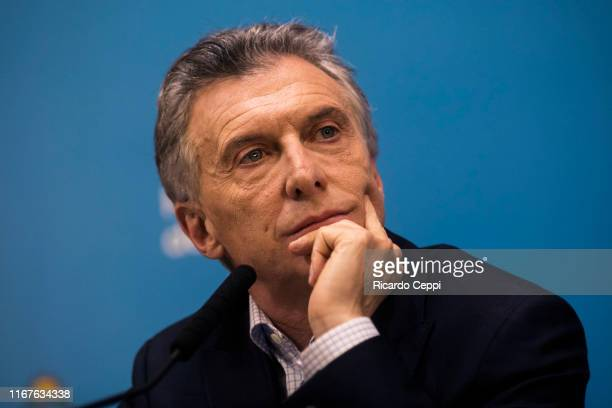 President of Argentina Mauricio Macri speaks during a press conference at Casa Rosada on August 12 in Buenos Aires, Argentina. President Mauricio...