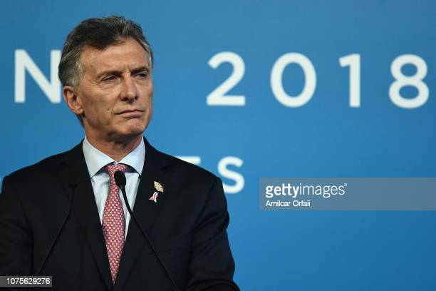 President of Argentina Mauricio Macri speaks during a press conference on day 2 of sessions of Argentina G20 Leaders' Summit 2018 at Costa Salguero...