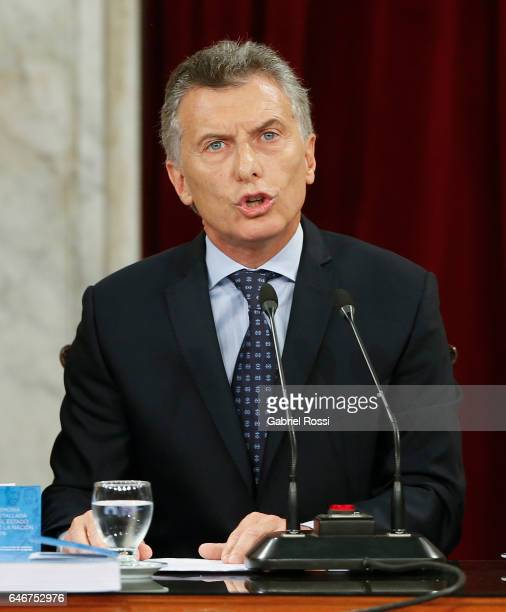 President of Argentina Mauricio Macri speaks during the inauguration of the 135th Period of Congress Ordinary Sessions on March 01, 2017 in Buenos...