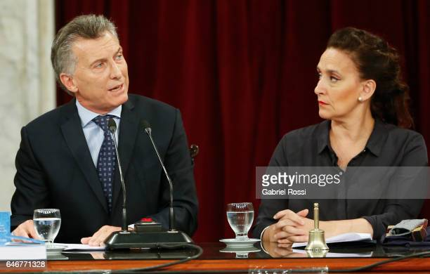 President of Argentina Mauricio Macri speaks while Vice President Gabriela Michetti looks on him during the inauguration of the 135th Period of...