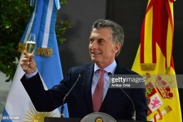 President of Argentina Mauricio Macri toasts during the first day of the official visit of the president of Spain to Buenos Aires at Casa Rosada on...