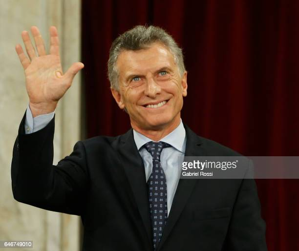 President of Argentina Mauricio Macri waves to the audience during the inauguration of the 135th Period of Congress Ordinary Sessions on March 01...