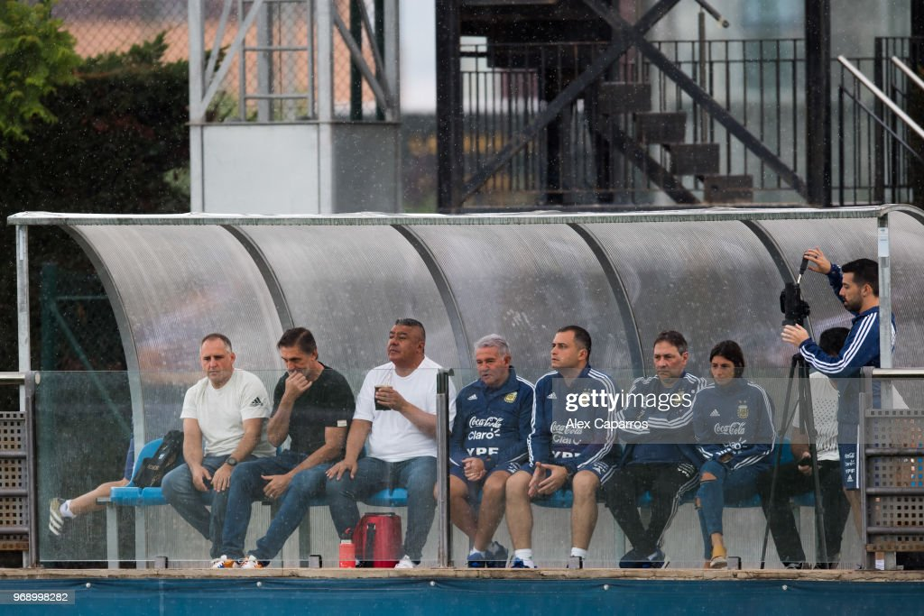 President of Argentinian Football Association (AFA) Claudio Tapia (3rd L) watches a training session as part of the team preparation for FIFA World Cup Russia 2018 at FC Barcelona 'Joan Gamper' sports centre on June 7, 2018 in Barcelona, Spain.