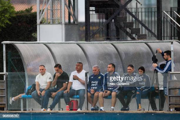 President of Argentinian Football Association Claudio Tapia watches a training session as part of the team preparation for FIFA World Cup Russia 2018...