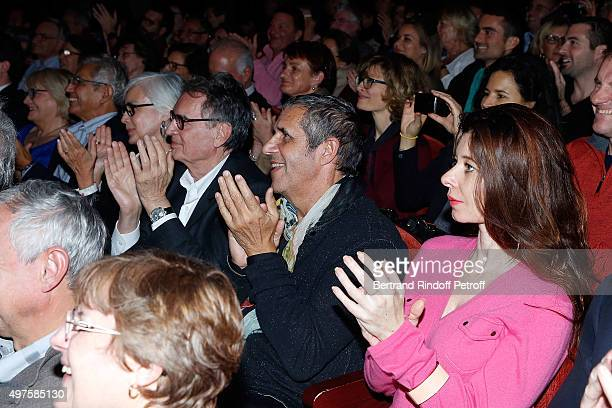 President of Artmedia Bertrand de Labbey and his wife Marcian Singer Julien Clerc and his wife Writer Helene Gremillon attend the 'Represailles'...