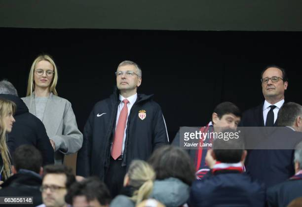 President of AS Monaco Dmitri Rybolovlev and his girlfriends attend with the French president Francois Hollande the French League Cup Final match...