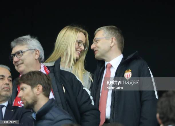 President of AS Monaco Dmitri Rybolovlev and his girlfriends attends the French League Cup Final match between Paris SaintGermain and AS Monaco at...