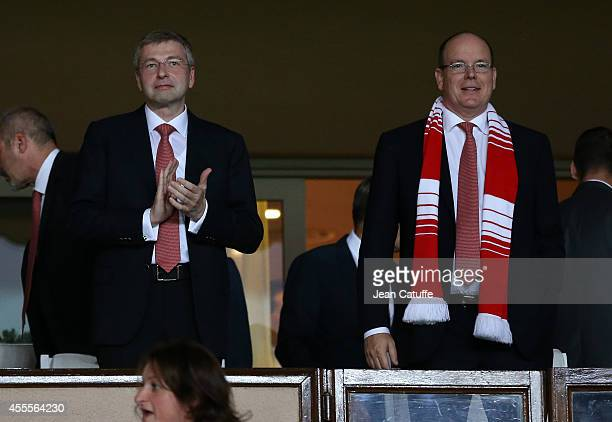 President of AS Monaco Dmitri Rybolovlev and Prince Albert II of Monaco attend the UEFA Champions League Group C match between AS Monaco FC and Bayer...