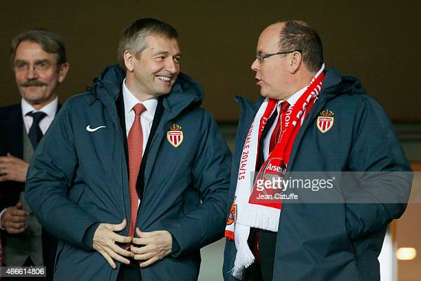 President of AS Monaco Dmitri Rybolovlev and Prince Albert II of Monaco attend the UEFA Champions League round of 16 match between AS Monaco FC and...
