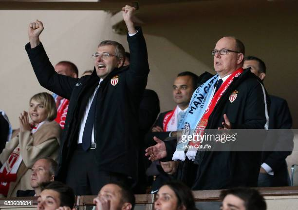 President of AS Monaco Dmitri Rybolovlev and Prince Albert II of Monaco celebrate the victory following the UEFA Champions League Round of 16 second...