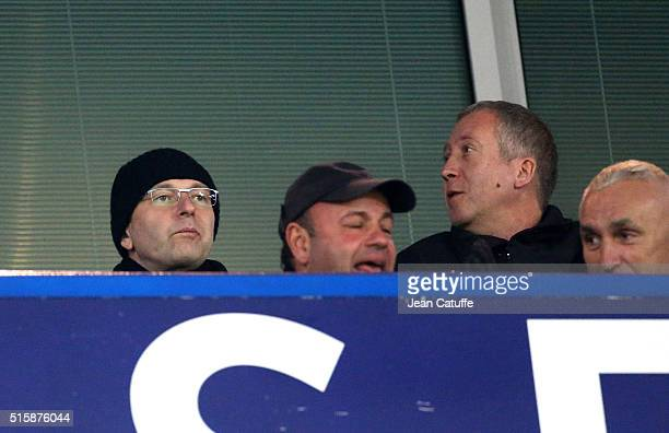 President of AS Monaco Dmitri Rybolovlev and VicePresident of AS Monaco Vadim Vasilyev attend the UEFA Champions League round of 16 second leg match...