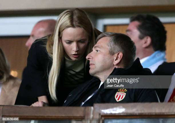 President of AS Monaco Dmitri Rybolovlev attends the UEFA Champions League Round of 16 second leg match between AS Monaco and Manchester City FC at...