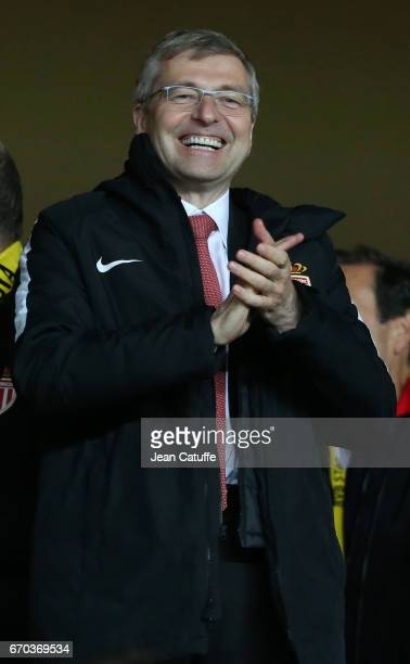 President of AS Monaco Dmitri Rybolovlev celebrates the victory following the UEFA Champions League quarter final second leg match between AS Monaco...