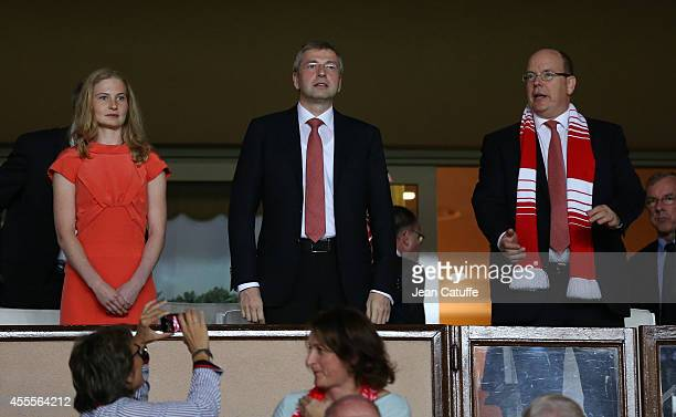 President of AS Monaco Dmitri Rybolovlev his daughter Ekaterina Rybolovlev and Prince Albert II of Monaco attend the UEFA Champions League Group C...