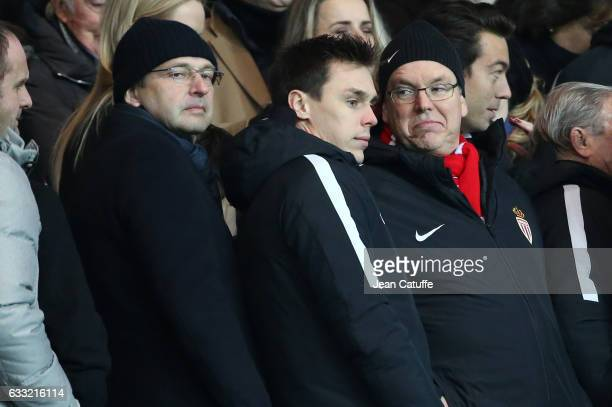 President of AS Monaco Dmitri Rybolovlev Louis Ducruet and Prince Albert II of Monaco attend the French Ligue 1 match between Paris Saint Germain and...