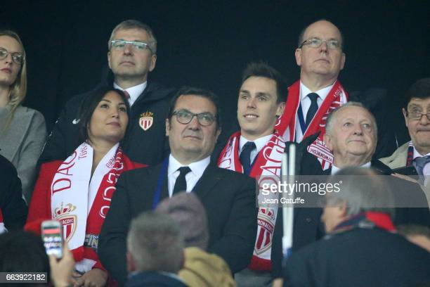 President of AS Monaco Dmitri Rybolovlev Louis Ducruet Prince Albert II of Monaco attend the French League Cup final between Paris SaintGermain and...