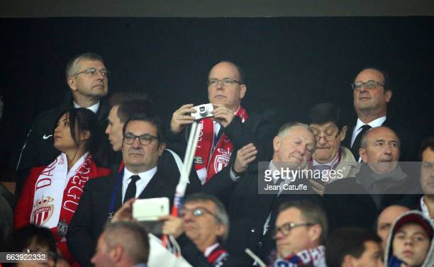 President of AS Monaco Dmitri Rybolovlev Prince Albert II of Monaco and French President Francois Hollande attend the French League Cup final between...