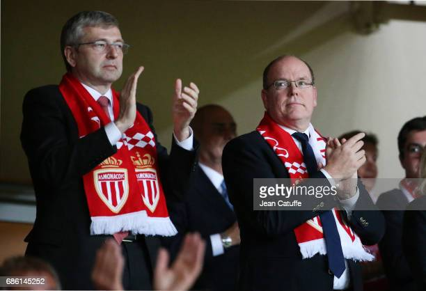 President of AS Monaco Dmitri Rybolovlev Prince Albert II of Monaco attend the French Ligue 1 match between AS Monaco and AS SaintEtienne at Stade...