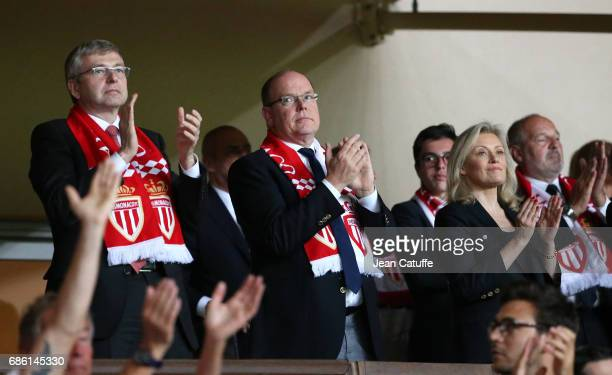 President of AS Monaco Dmitri Rybolovlev Prince Albert II of Monaco President of LFP Nathalie Boy de la Tour attend the French Ligue 1 match between...