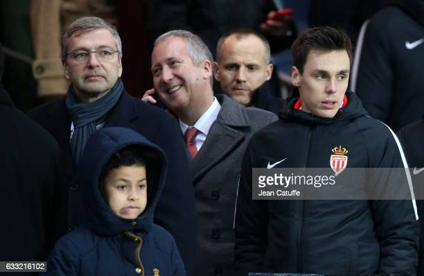 President of AS Monaco Dmitri Rybolovlev Vice President of AS Monaco Vadim Vasilyev Louis Ducruet attend the French Ligue 1 match between Paris Saint...