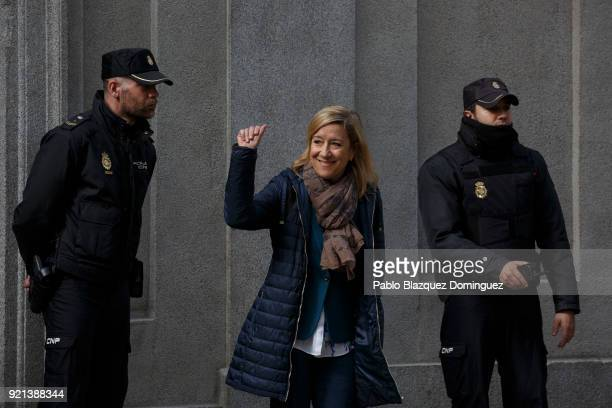 President of Association of Municipalities for Independence Neus Lloveras leaves the Supreme Court on February 20 2018 in Madrid Spain Some Catalan...