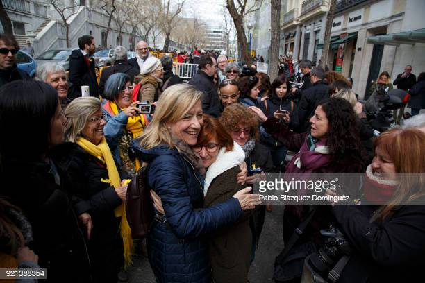 President of Association of Municipalities for Independence Neus Lloveras hugs her supporters as she leaves the Supreme Court on February 20 2018 in...