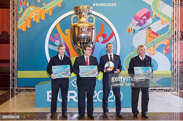President of Athletic Club de Bilbao Josu Urrutia Mayor of Bilbao Jose Maria Aburto UEFA president Aleksander Ceferin and president of RFEF Angel...