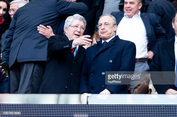 President of Atletico de Madrid Enrique Cerezo and President of Real Madrid Florentino Perez during La Liga match between Atletico de Madrid and Real...